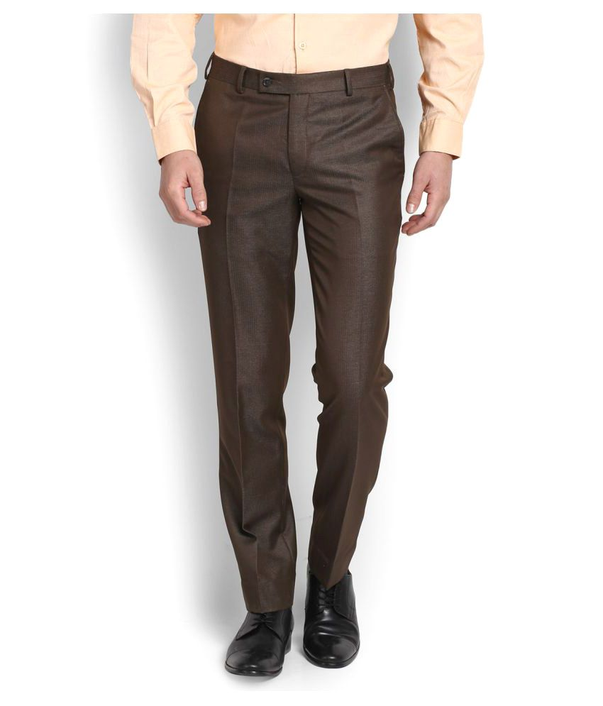 Park Avenue Brown Slim Flat Trousers