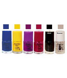 Fashion Bar Nail Polish Blue, Yellow,Black,Basecot Matte 30 Ml Pack Of 6