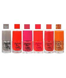 Fashion Bar Nail Polish Glitter Silver,Orange,Pink,Red,Gold Matte 30 Ml Pack Of 6