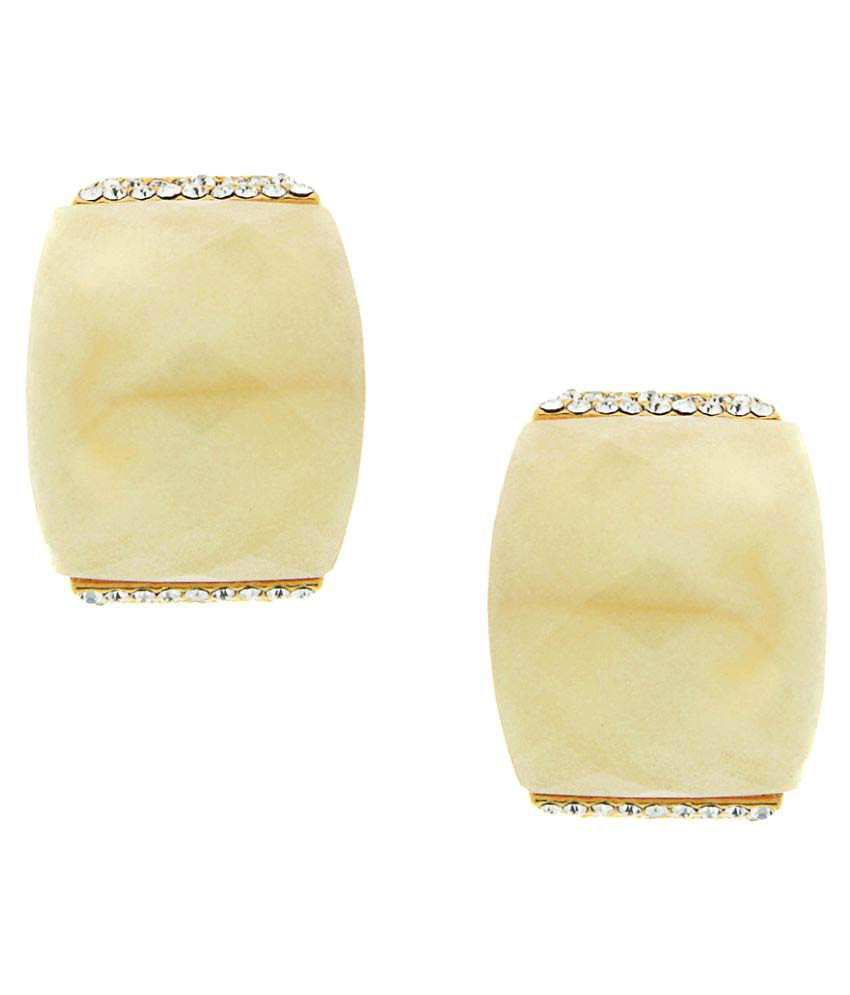 The Ethnic Wears Unique Collection Beige Stones Embedded Earrings For Women