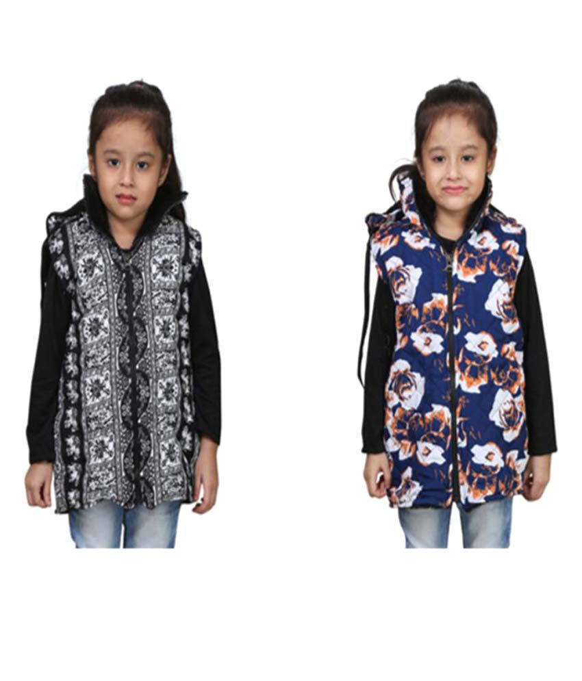 Crazies Girl's Multicolour Nylon Jacket - Pack of 2