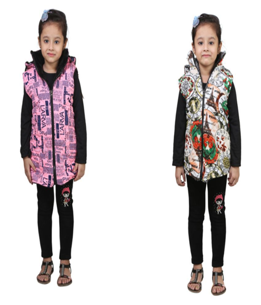 Qeboo Multicolour Light Weight Jacket for Girl's Pack of 2