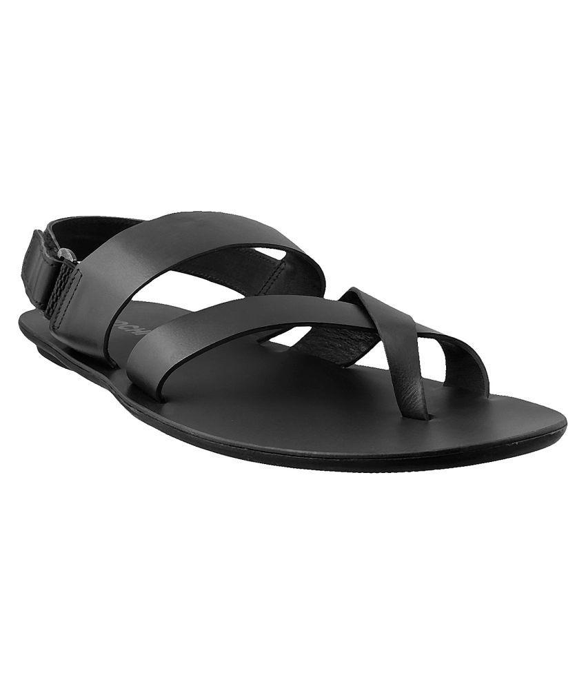 Mochi MOCHI Men BLACK LEATHER BLACK Sandals ...