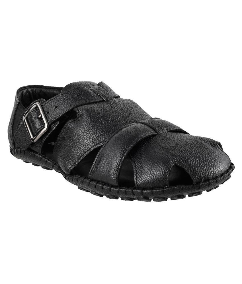 ace9e9306e01 Mochi MOCHI Men BLACK LEATHER BLACK Sandals Price in India- Buy Mochi MOCHI Men  BLACK LEATHER BLACK Sandals Online at Snapdeal