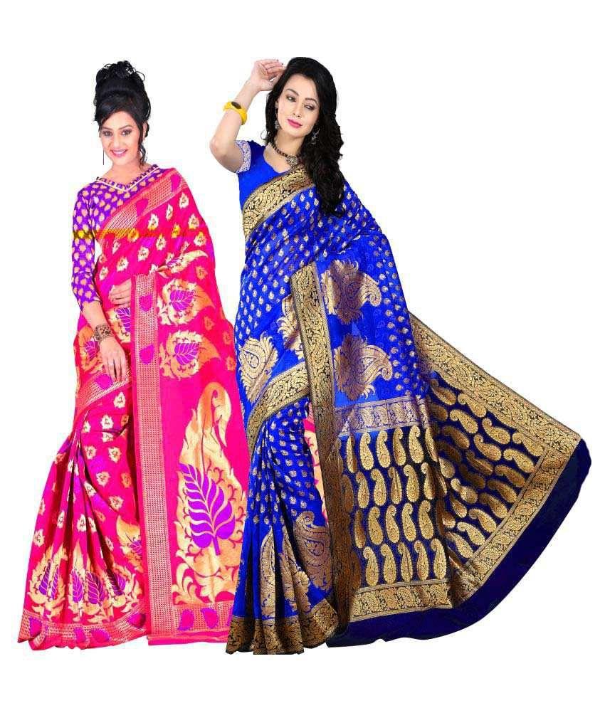 Weavedeal Multicoloured Kanchipuram Saree Combos