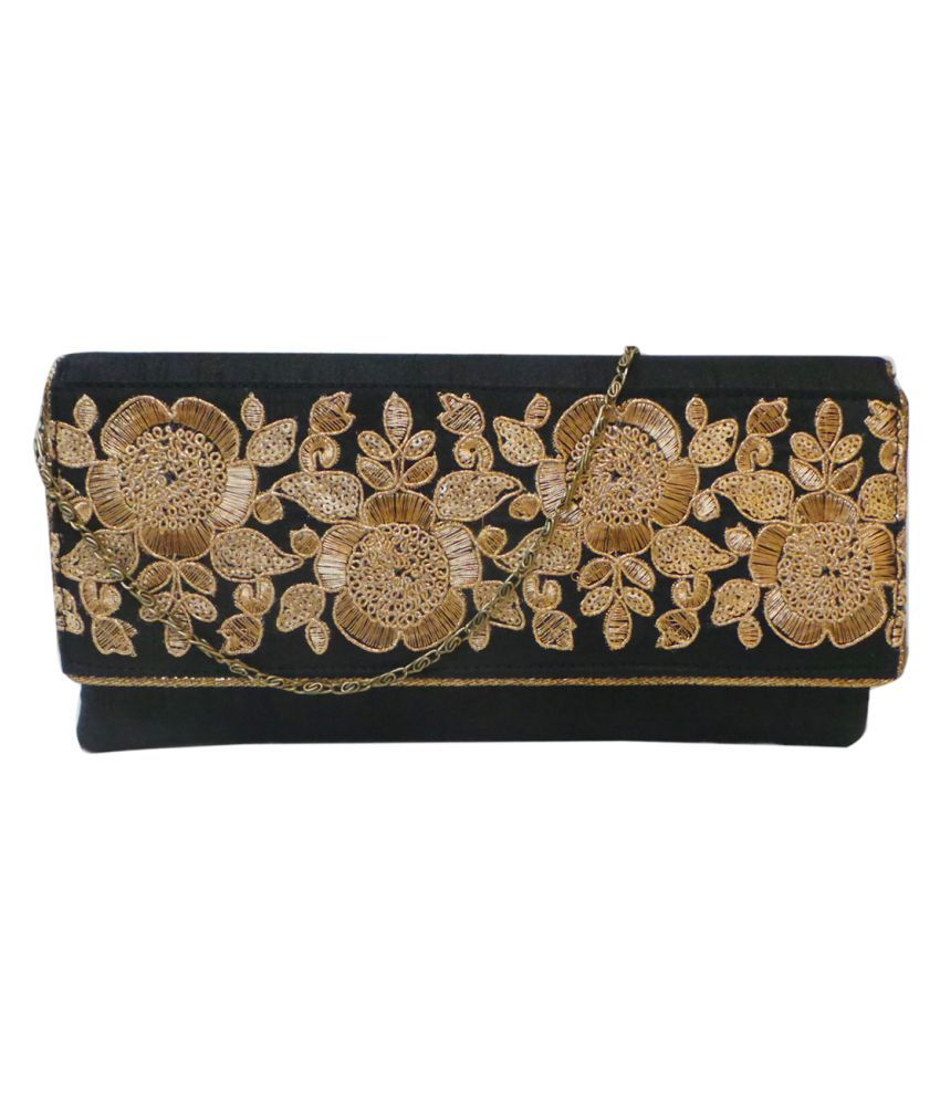 Bhamini Black Silk Box Clutch