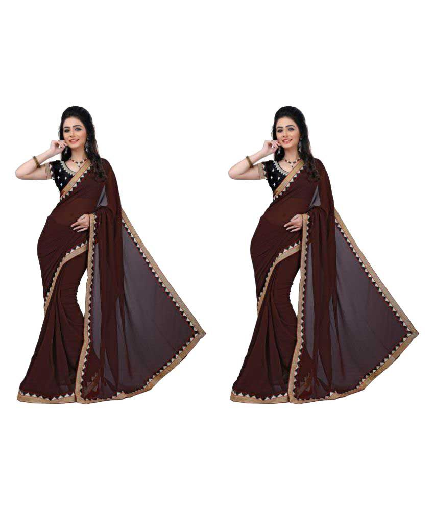 Maa Brown Chiffon Saree Combos