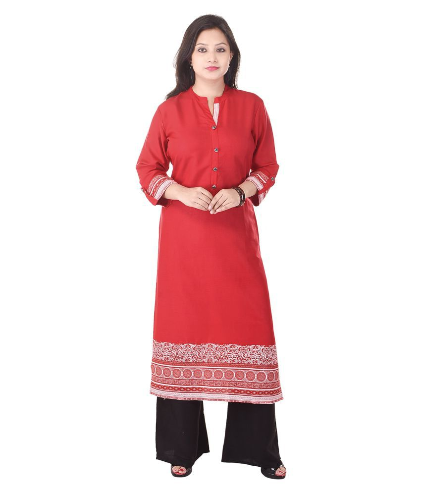 Shopping World Red Rayon Straight Kurti