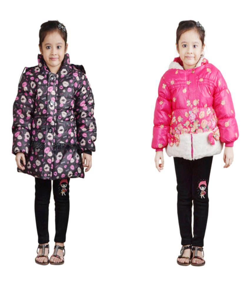 Crazeis Full Sleeves Nylon Jackets For Girls - Pack Of 2