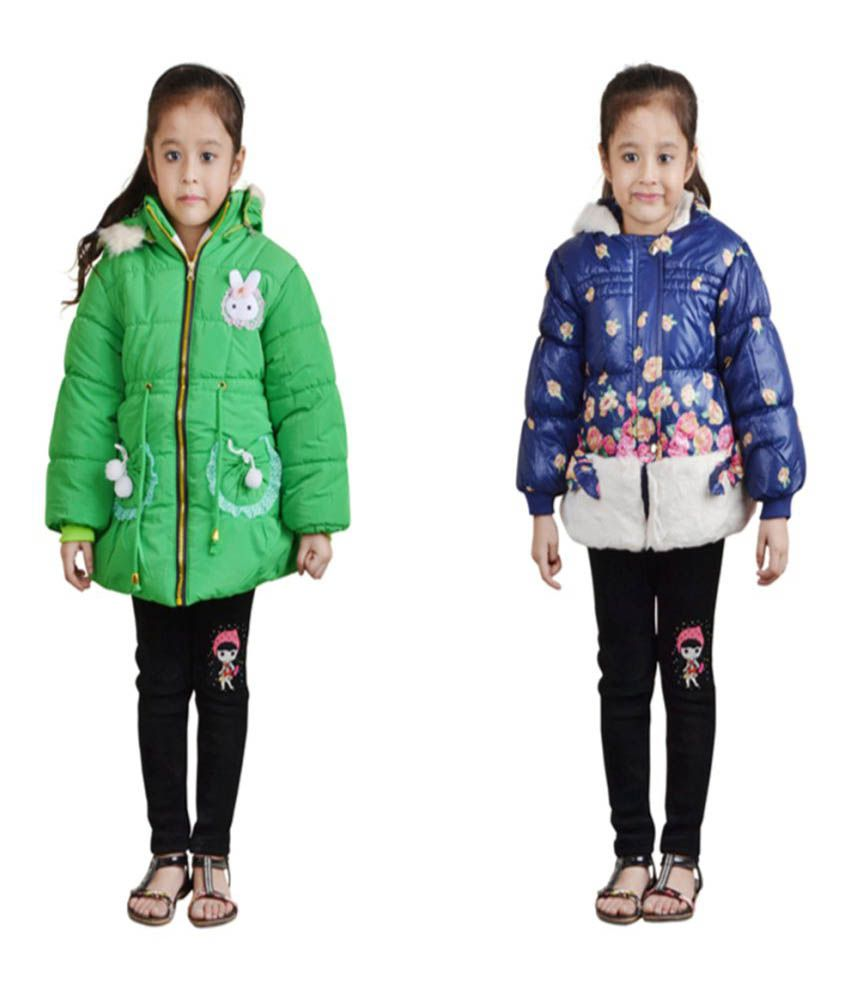 Crazeis Multicolour Nylon Jackets For Girls - Pack of 2