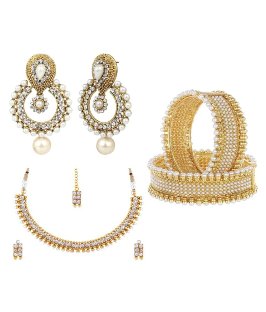 Jewels Gold Traditional Gold Plated Designer Necklace Set With 2 Earring and Kada