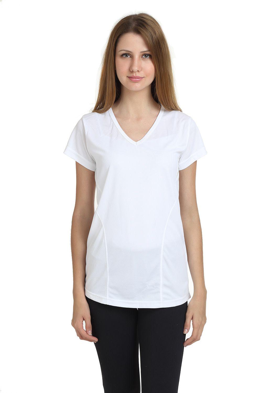 T10 Sports White Cotton Lycra T-Shirt