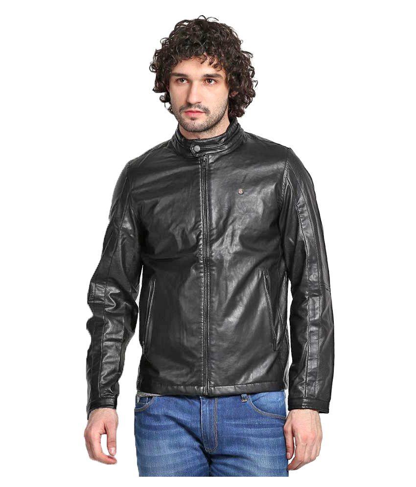 166296709f07 Spykar Black Leather Jacket - Buy Spykar Black Leather Jacket Online ...
