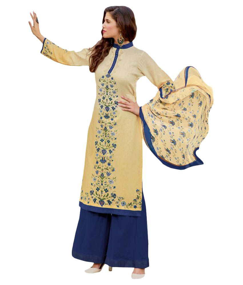 Shoponbit Beige Satin Dress Material