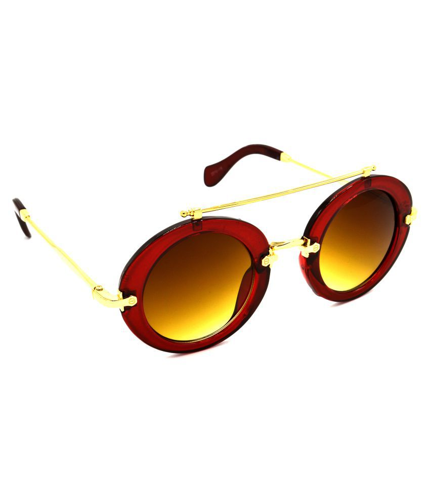 Hrinkar Brown Round Sunglasses ( HRS315-BK-BU-GRP )