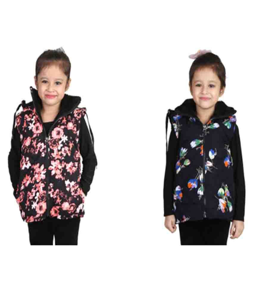 Crazies Multicolour Light Weight Jackets for Girl's - Combo of 2
