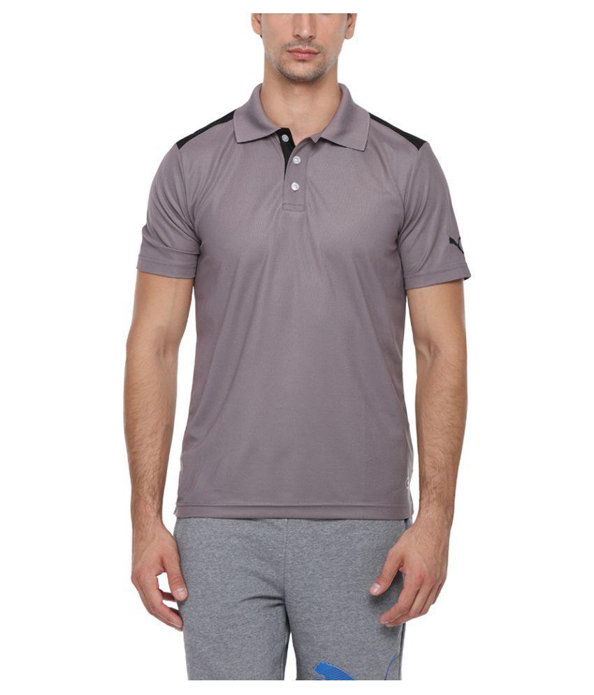 Puma Grey Cotton Polo T-Shirt