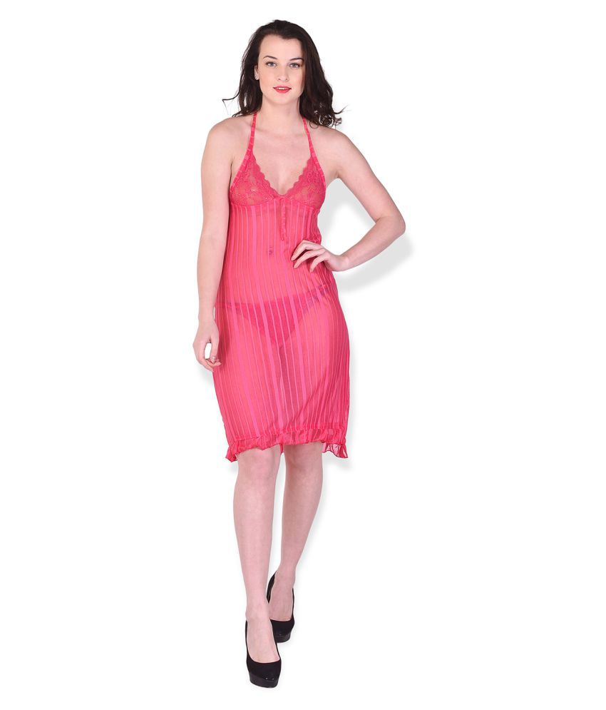 Babesa Satin Baby Doll Dresses With Panty