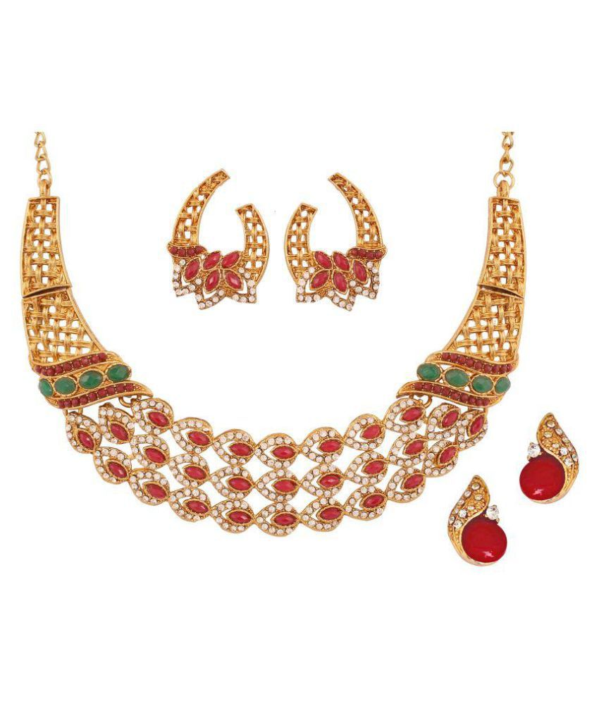 Touchstone Combo of Multicolour Necklace Set with Pair of Stud Earrings