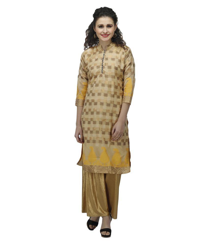 Auraori Gold Chanderi Straight Stitched Suit