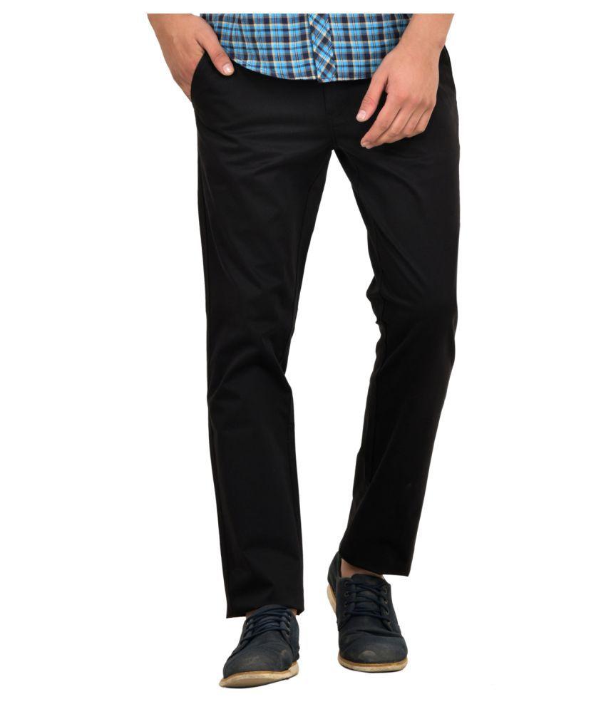 Blue Buddha Black Slim Flat Trousers