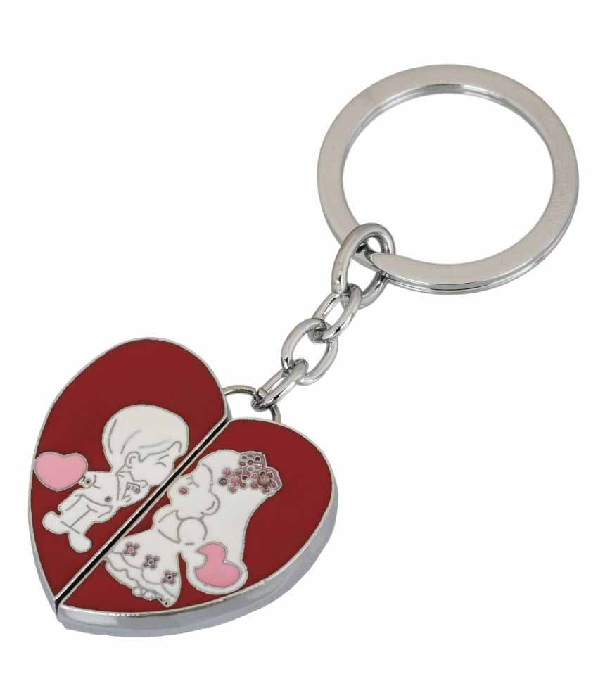 Gadge Heart Shape Red Inside Couple Keychain
