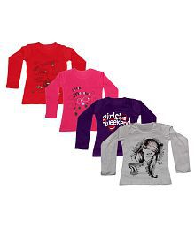 Indiweaves Multi colour Girls Cotton Full Sleeves Comfortable Printed T-Shirt Pack of 4
