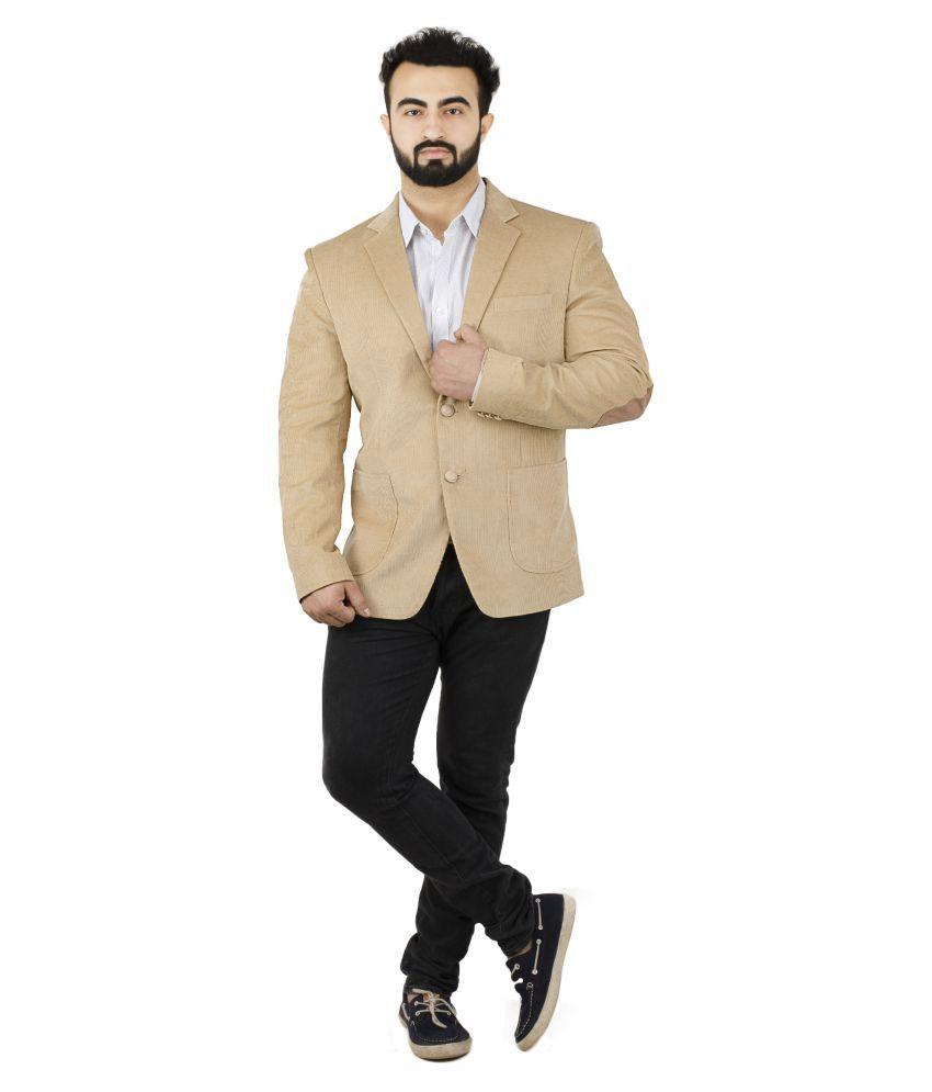 Lorenzini Designs Beige Solid Casual Blazers