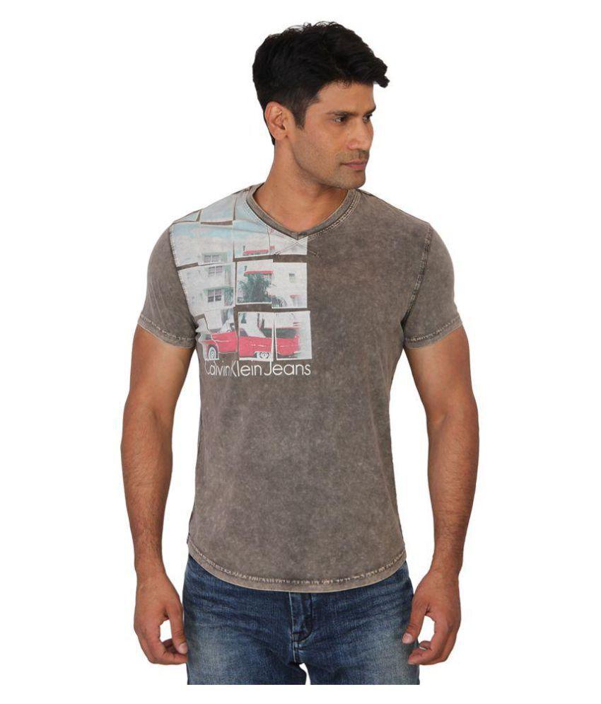 Calvin Klein Beige V-Neck T-Shirt