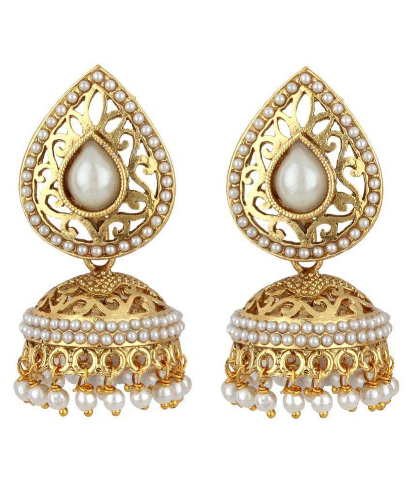 Jewels Guru Golden Jhumki Earrings