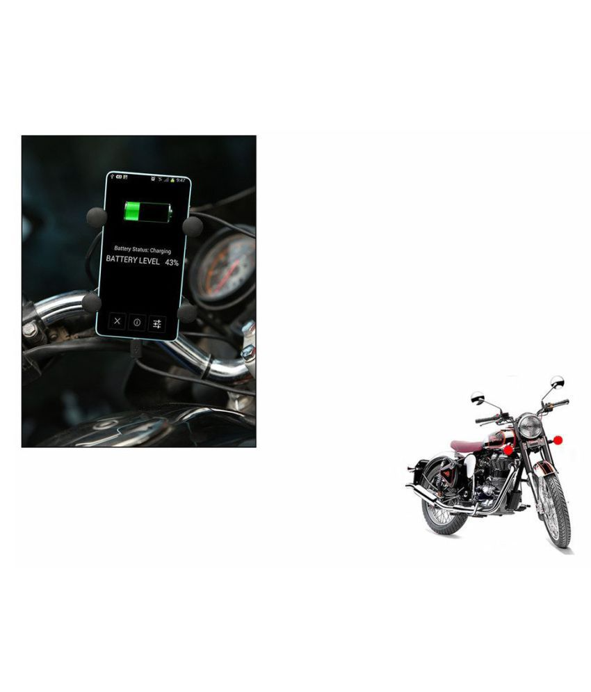 Bike Mobile Phone Holder With Usb Charger For Royal Enfield Bullet Low Power Car Hero Bajaj Pulsar