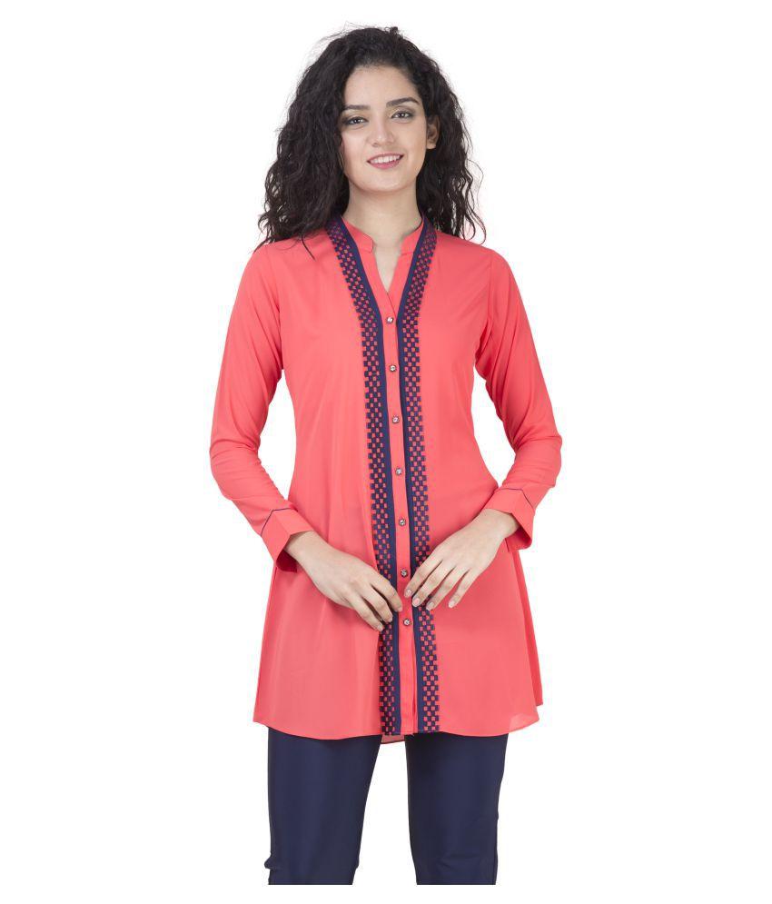 Mini Singh Red Georgette Shirt style Kurti