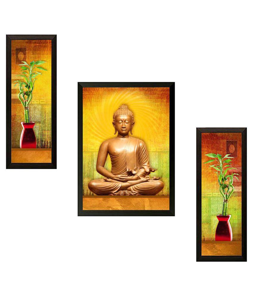 Saf Set of 3 Buddha Wood Painting With Frame Set of 3