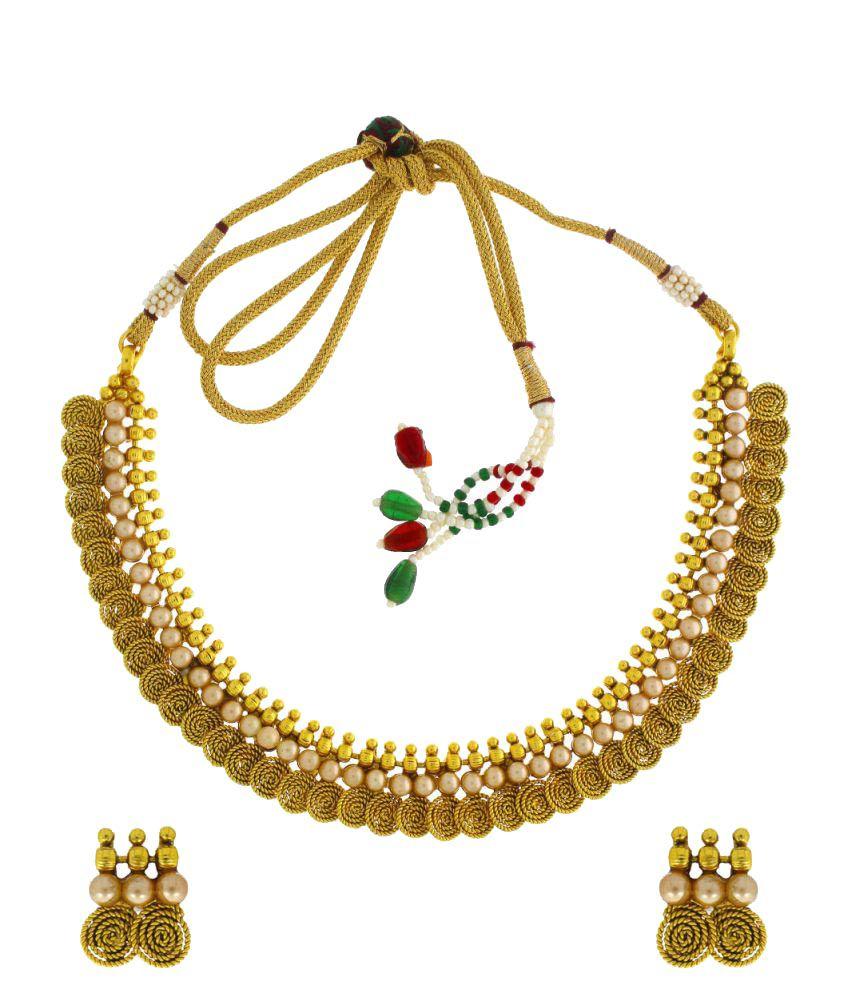 Anuradha Art Gold Plated Necklace Set