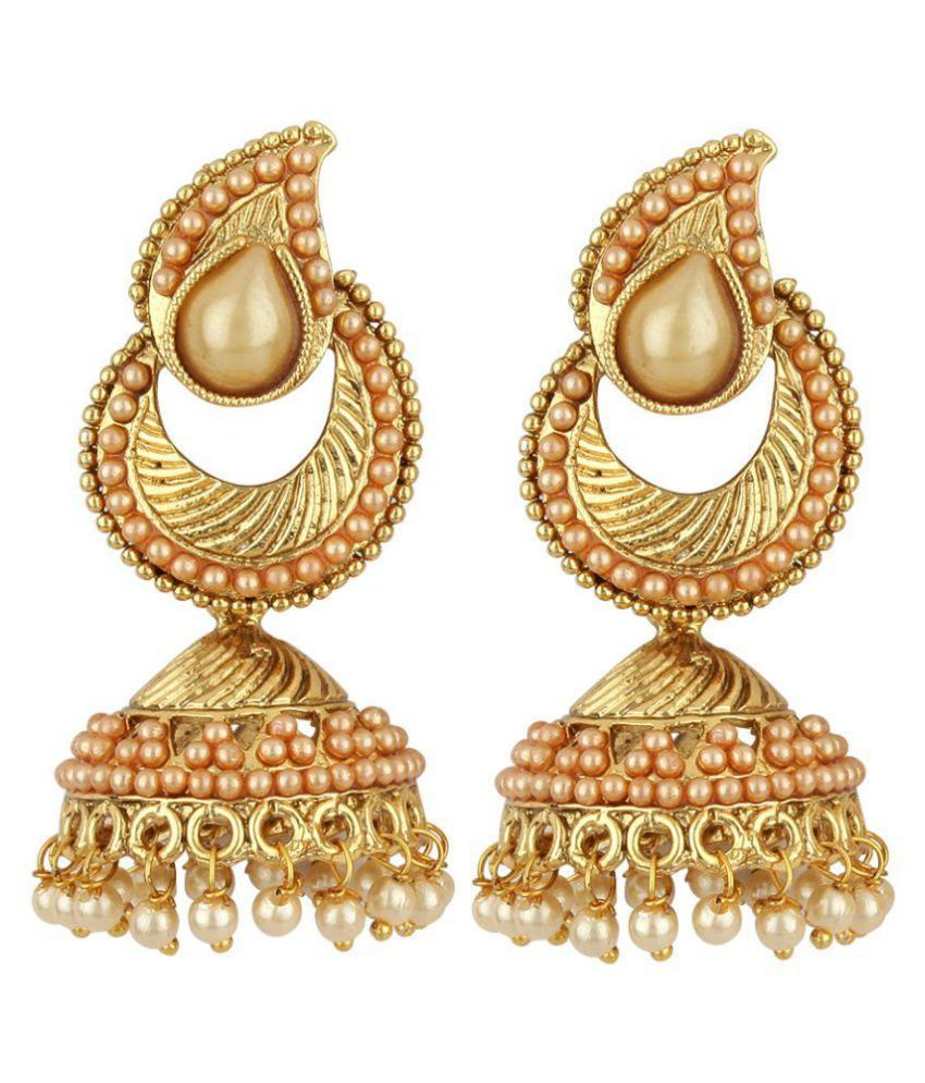 Jewels Capital Golden Jhumki Earrings