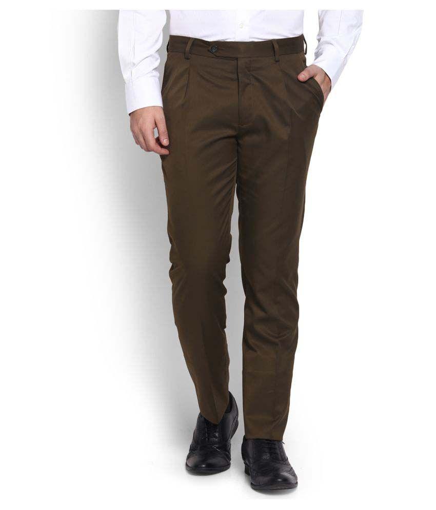 John Players Brown Regular Pleated Trousers
