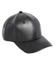 Saifpro Leather Black Baseball Caps For Men And Women