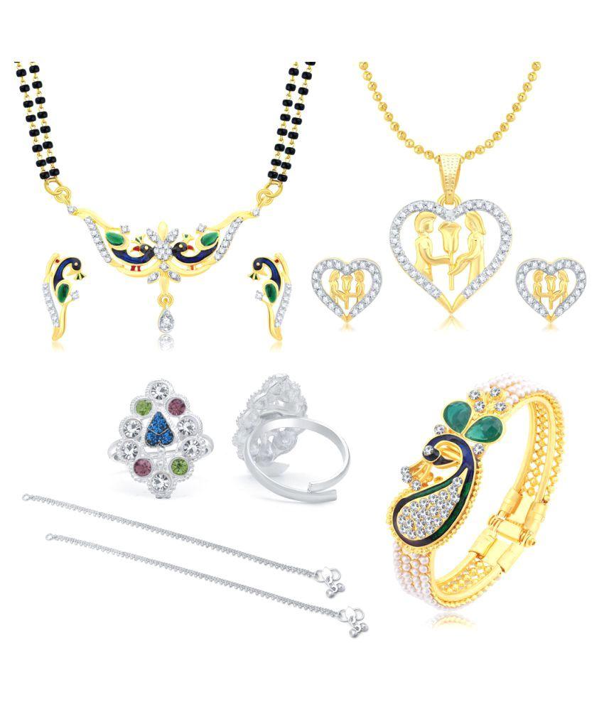 Sukkhi Combo of Mangalsutra Set, Necklace Set, Toe Ring, Bracelet and Pair of Anklets