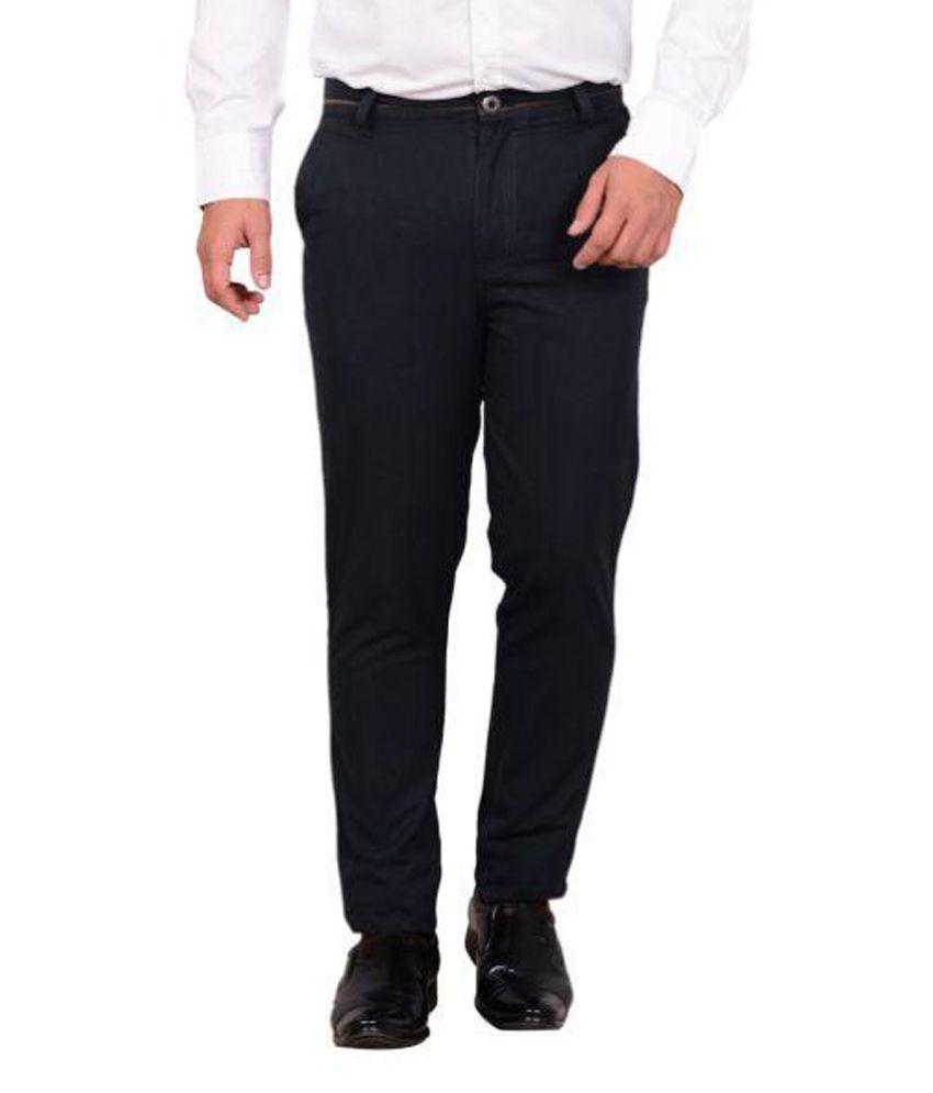 lairfish Black Slim Flat Trousers