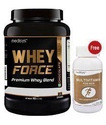 MEDISYS Whey Force 1 Kg [Free Multivitamin] 1 Kg Chocolate