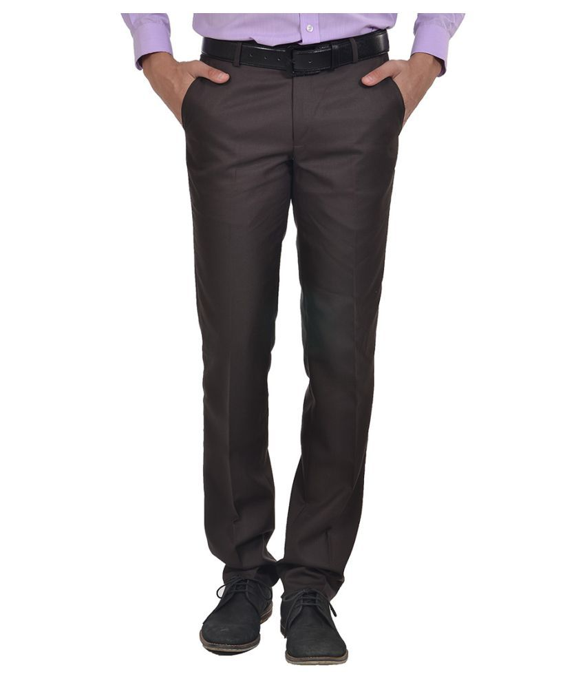 Club Fox Brown Regular Flat Trousers
