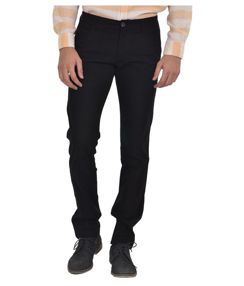 Klub Fox Black Regular Flat Trousers