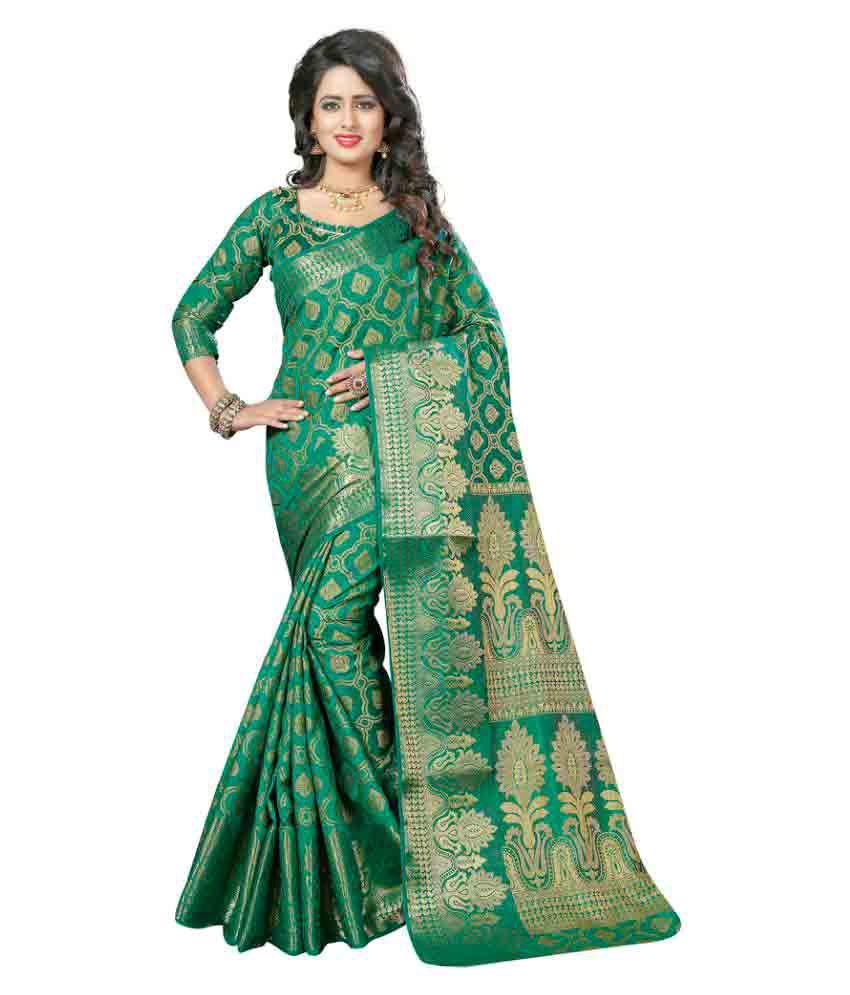 The Ethnic Chic Green Jacquard Saree