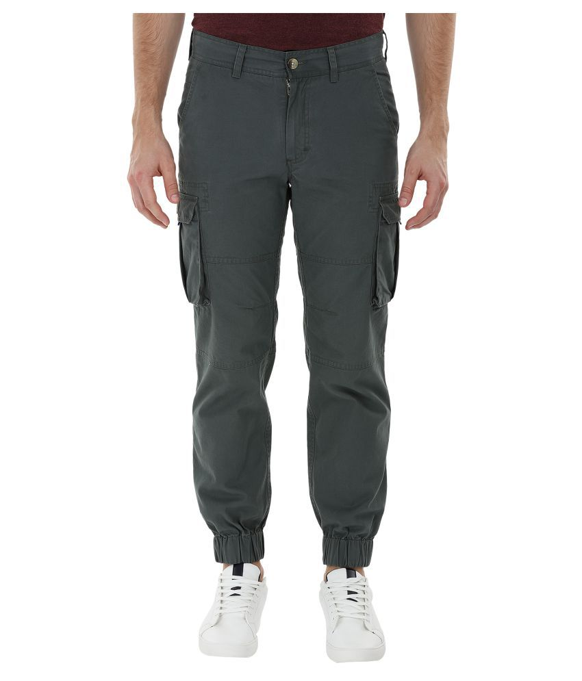 Zobello Dark Green Regular Flat Cargos