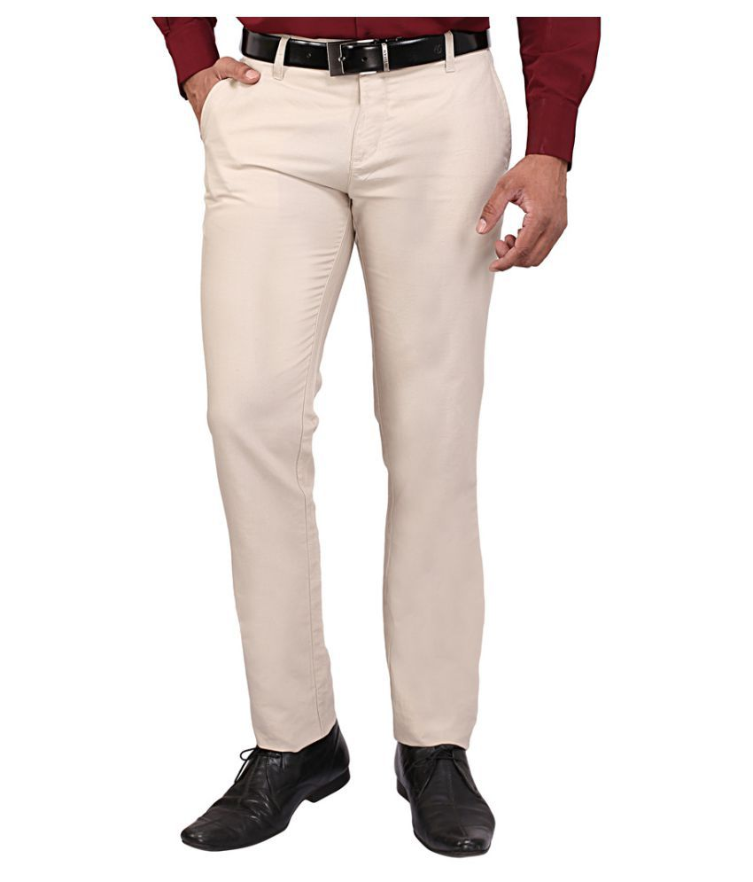 DRM Apparels Beige Regular Flat Trousers