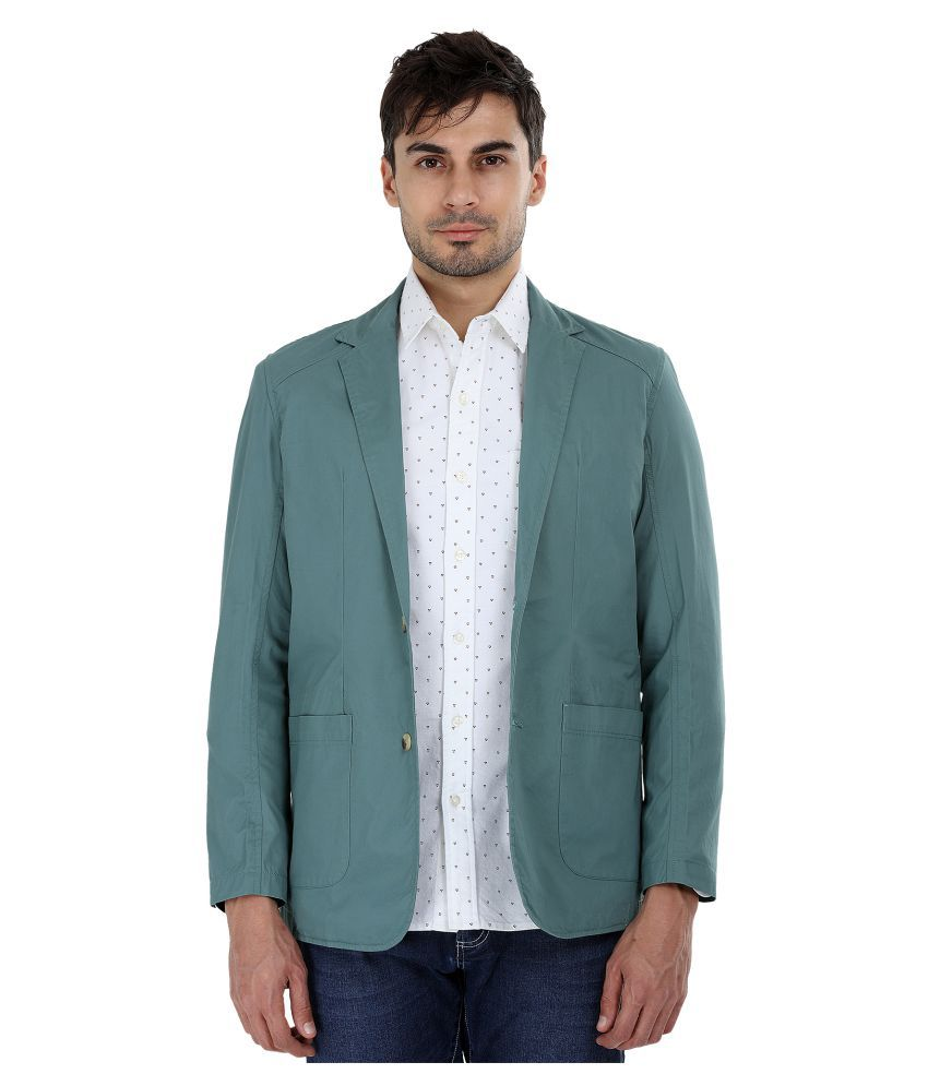Zobello Green Solid Casual Blazers