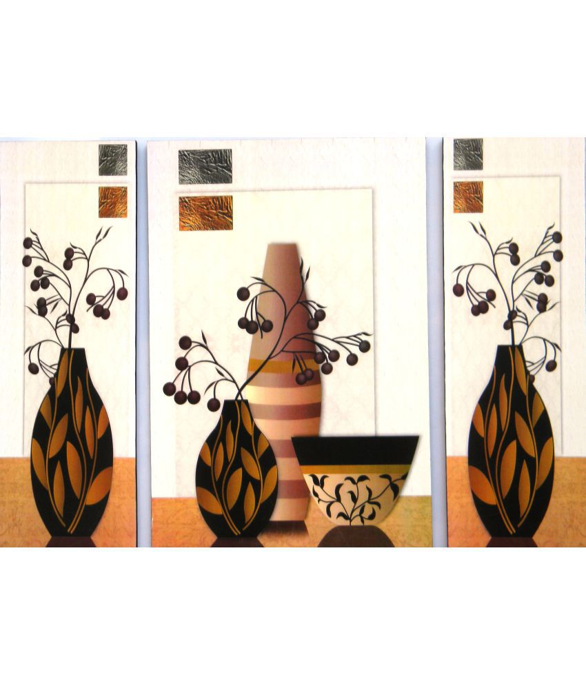 Amazing Collections Floral Painting MDF Painting Without Frame Set of 3