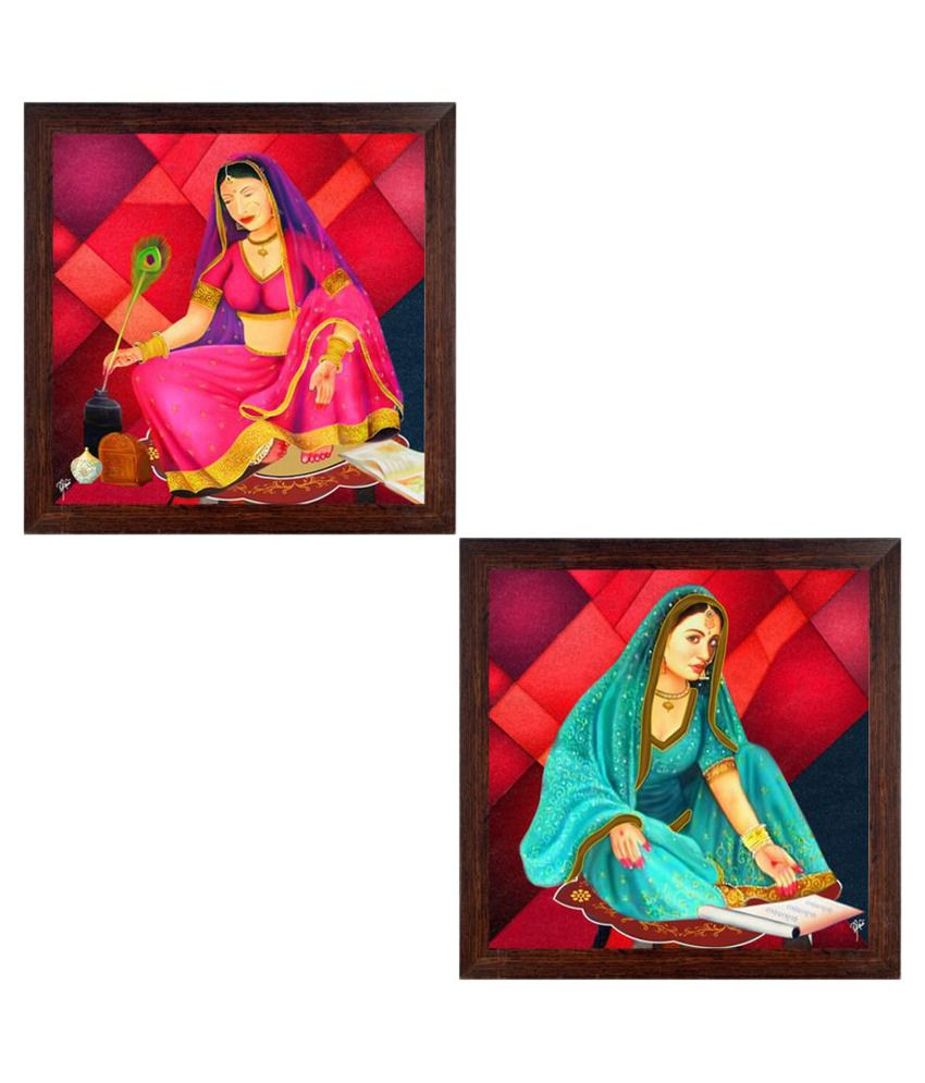 Ray Decor Pop Art Paintings Paper Painting With Frame Set of 2