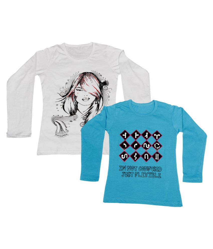 Indiweaves girls cotton full sleeve printed t shirt pack for Full size t shirt printing