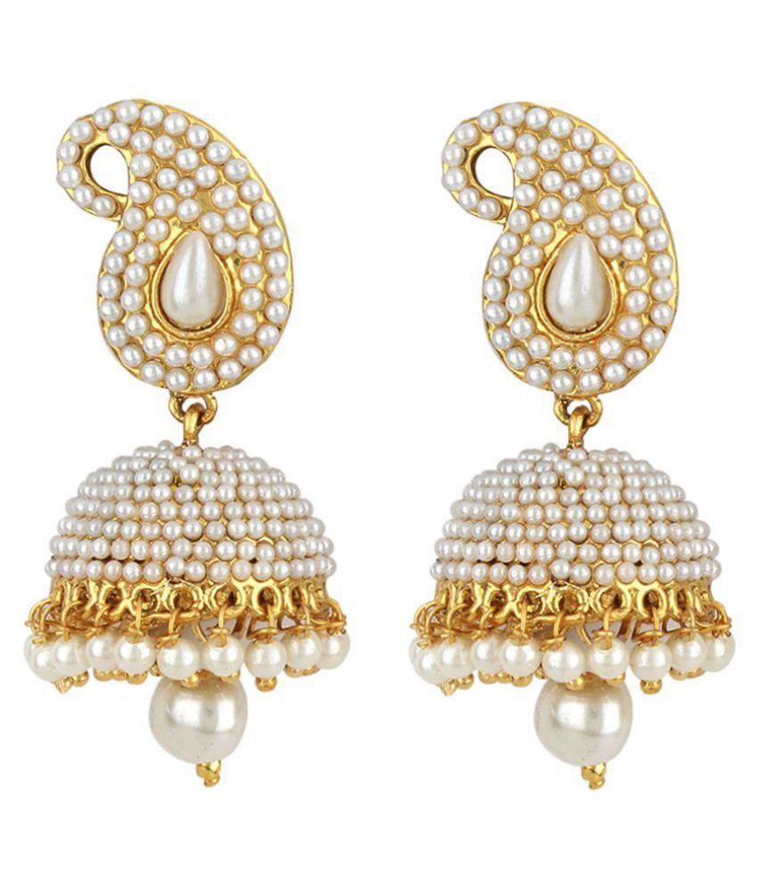 Jewels Guru White Alloy Earrings